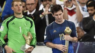 Argentina forward Lionel Messi (right) and Germany keeper Manuel Neuer