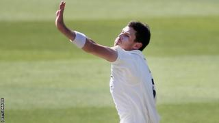 Seamer James Harris in action for Middlesex