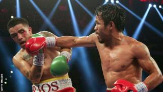Manny Pacquiao (right) and Brandon Rios