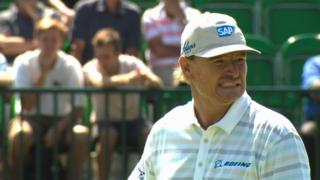 The Open: Ernie Els makes a triple bogey at the first hole