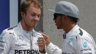 Lewis Hamilton and teammate Nico Rosberg