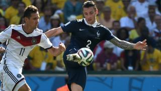 Mathieu Debuchy (right) in action for France at the World Cup