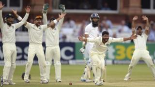 India appeal for a wicket