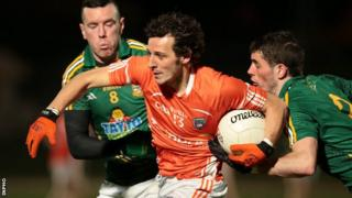 Meath pair Andrew Tormey and Donal Keoghan challenge Armagh forward Jamie Clarke