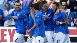 St Johnstone players celebrate Stevie May's penalty against FC Luzern