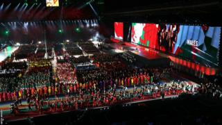 Team Wales enter Celtic Park for the opening ceremony of the Commonwealth Games