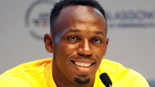 A relaxed Usain Bolt speaks to journalists in Glasgow