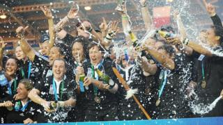 New Zealand celebrate their victory over England in the 2010 Women's Rugby World Cup final