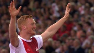 Greg Rutherford celebrates gold in the long jump