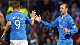 St Johnstone captain Dave Mackay celebrates his goal