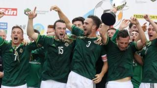 Northern Ireland celebrate victory in the Milk Cup Elite final