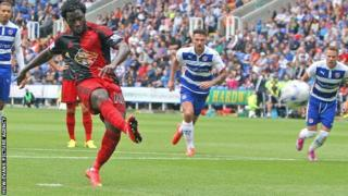 Wilfried Bony fires a penalty against the bar for Swansea City at Reading