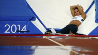 Women's pole vault medal hope Zoe Brown failed to register a height after torrential rain made the competition a lottery