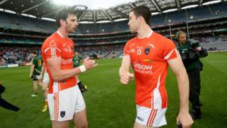Aaron Findon and Aidan Forker pictured after the final whistle blows on their 0-18 to 0-13 success at Croke Park