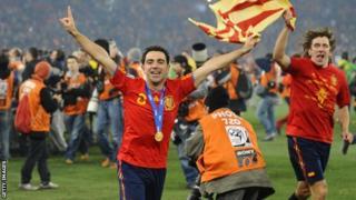 Xavi Hernandez and Carles Puyol
