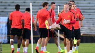 Manchester United players take part in a training session