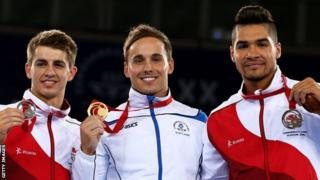 Gymnasts Max Whitlock, Daniel Keatings and Louis Smith