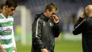 Celtic midfielder Nir Biton and manager Ronny Deila