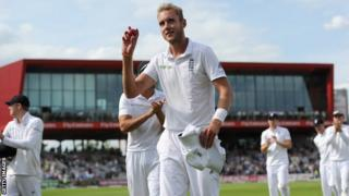 England's Stuart Broad celebrates the 12th five-wicket haul of his Test career