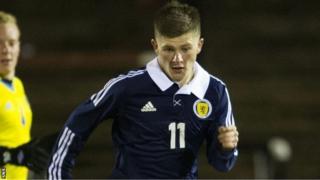 Matthew Kennedy playing for Scotland Under-21s