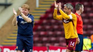 Motherwell manager Stuart McCall and captain Keith Lasley