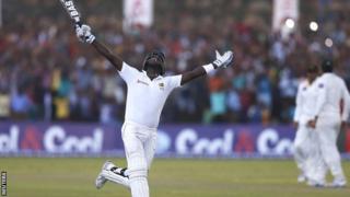 Sri Lanka captain Angelo Mathews celebrates victory in Galle