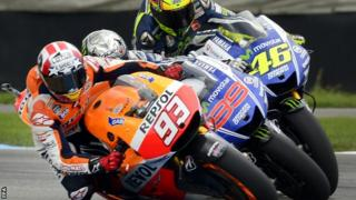 marc marquez, jorge lorenzo and valentino rossi battle during the indianapolis motogp
