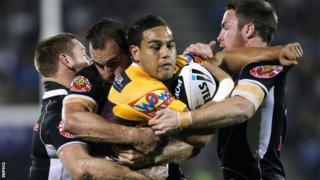 Ben Te'o is tackled while in action for the Brisbane Broncos aganst the Warriors in 2010