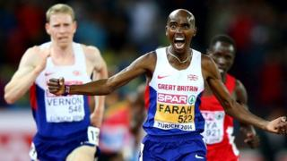 British runner Mo Farah wins 10,000m gold at the European Athletic Championships in Zurich