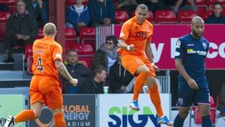 Josh Magennis jumps for joy after scoring for Kilmarnock