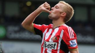 Sunderland's Seb Larsson celebrates after scoring a late equaliser against West Brom on the first day of the season