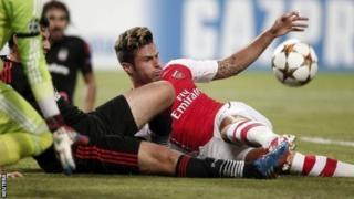 Arsenal striker Olivier Giroud tries to turn the ball in under pressure from Ramon Motta of Besiktas