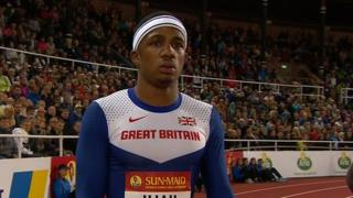 Great Britain's Chijindu Ujah finishes third to take bronze in the men's 100m sprint at the Diamond League meeting in Stockholm.