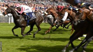 Sole Power (left) crossing the line to win the Nunthorpe Stakes