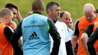 Coach Anthony Foley with Munster players at pre-season training