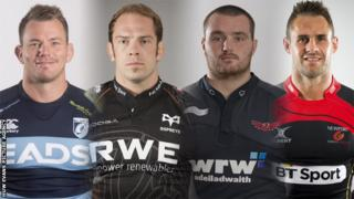 Matt Rees, Alun Wyn Jones, Ken Owens and Lee Byrne