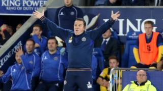 Shrewsbury Town manager Micky Mellon celebrates his side's League Cup win at Leicester