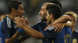 Argentina's Angel Di Maria celebrates after scoring against Germany