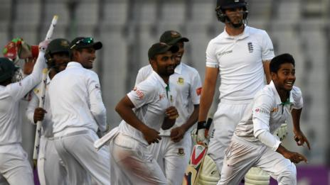 Bangladesh celebrate victory over England in the second Test in Dhaka
