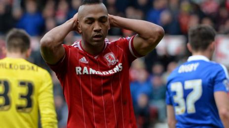 Middlesbrough's Emilio Nsue shows his disappointment after missing a chance against Ipswich