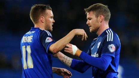 Aron Gunnarsson of Cardiff City celebrates his sides first goal with Craig Noone
