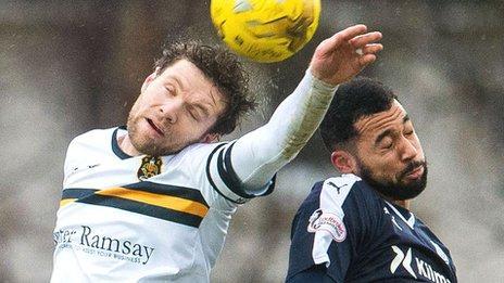 Dumbarton's Darren Barr challenges Dundee's Kane Hemmings for a header