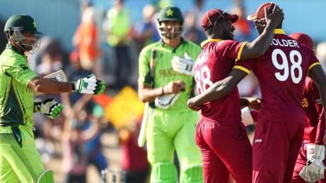 West Indies celebrate a wicket against Pakistan