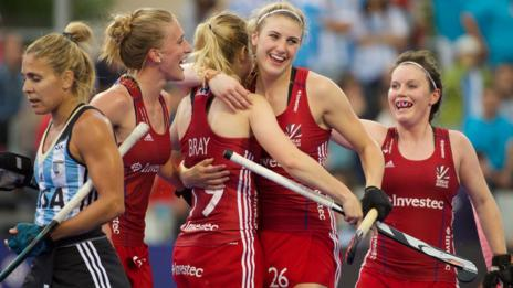 Lily Owsley celebrates a goal for GB against Argentina