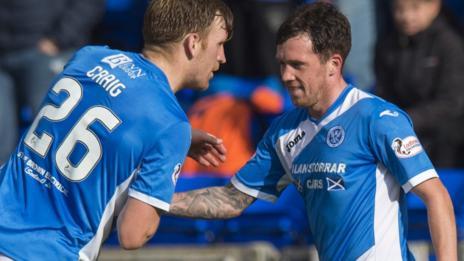 St Johnstone'€™s Danny Swanson (right) celebrates with Liam Craig