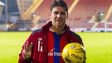 Inverness midfielder Iain Vigurs celebrates with the match ball after his hat-trick at Dunfermline