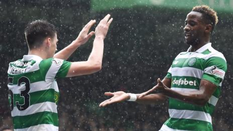 Celtic's Kieran Tierney and Moussa Dembele celebrate