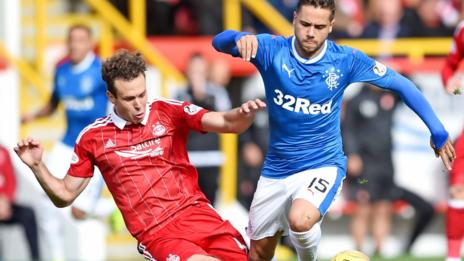 Aberdeen's Andrew Considine tackles Rangers' Harry Forrester
