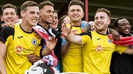 Edinburgh City players celebrating