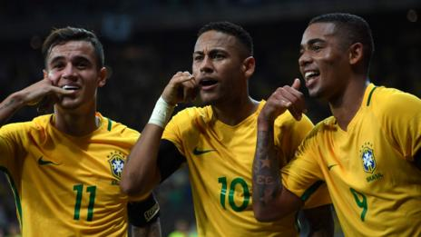 Brazil celebrate during their win over Argentina